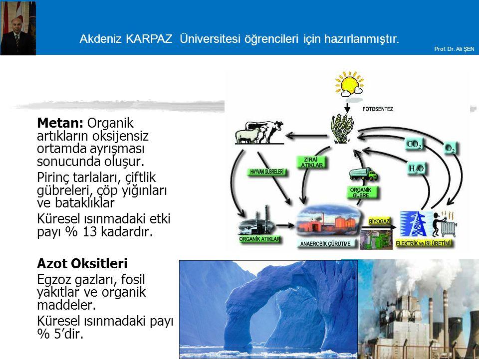 Metan: Organik artıkların oksijensiz ortamda ayrışması sonucunda oluşur.