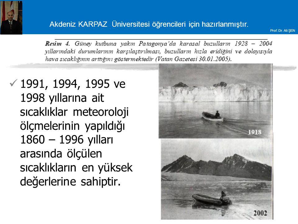 1991, 1994, 1995 ve 1998 yıllarına ait sıcaklıklar meteoroloji ölçmelerinin yapıldığı 1860 – 1996 yılları arasında ölçülen sıcaklıkların en yüksek değerlerine sahiptir.