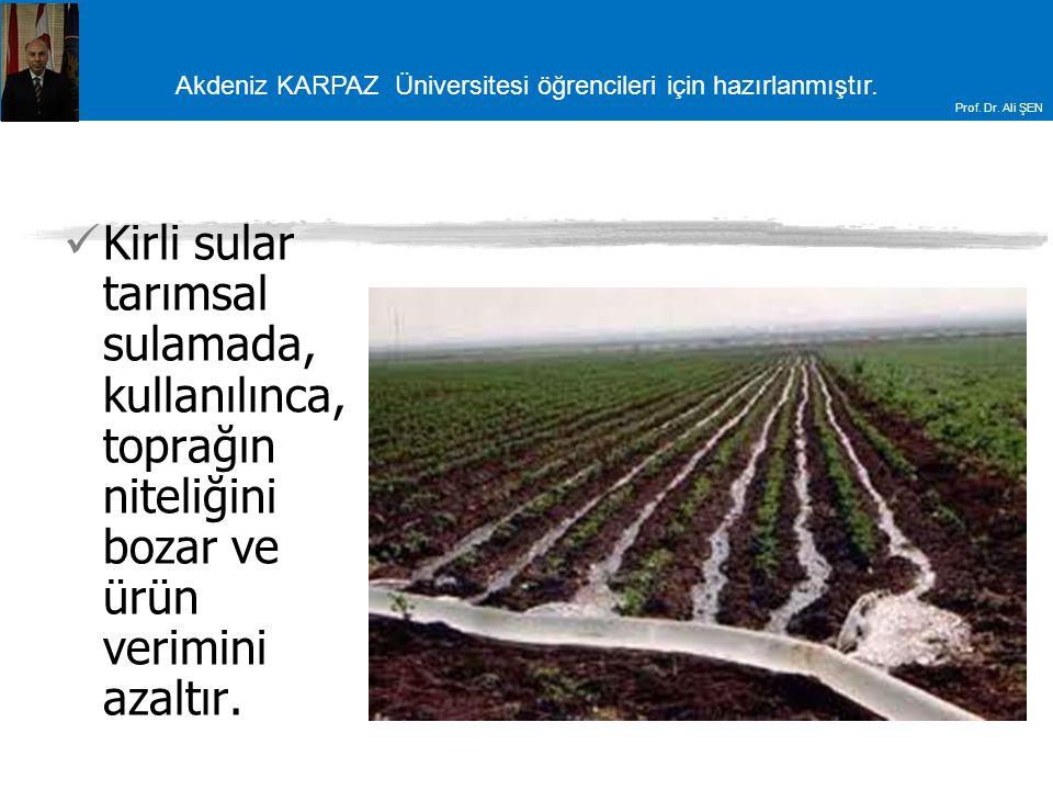 Kirli sular tarımsal sulamada, kullanılınca, toprağın niteliğini bozar ve ürün verimini azaltır.