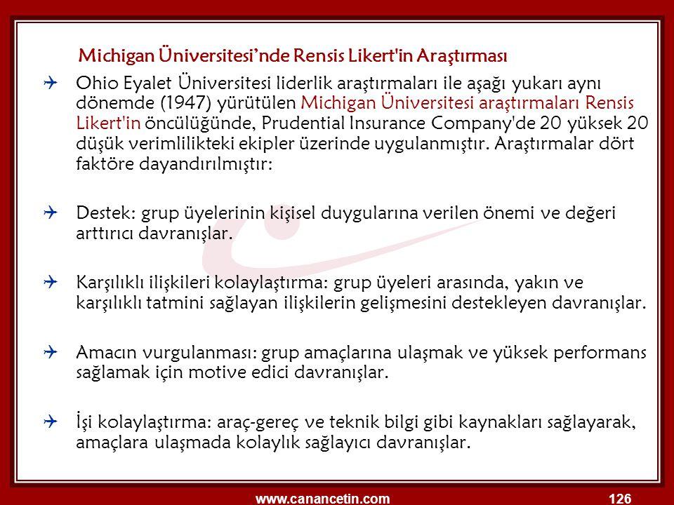 Michigan Üniversitesi'nde Rensis Likert in Araştırması