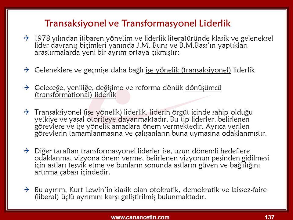 Transaksiyonel ve Transformasyonel Liderlik