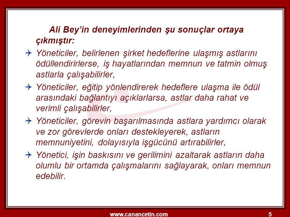 Ali Bey'in deneyimlerinden şu sonuçlar ortaya çıkmıştır: