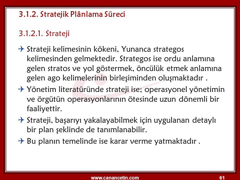 3.1.2. Stratejik Plânlama Süreci 3.1.2.1. Strateji