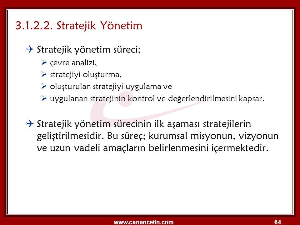 3.1.2.2. Stratejik Yönetim Stratejik yönetim süreci;