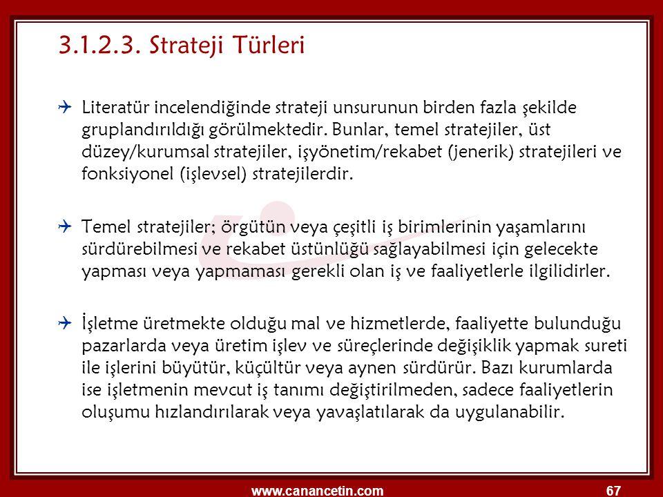 3.1.2.3. Strateji Türleri
