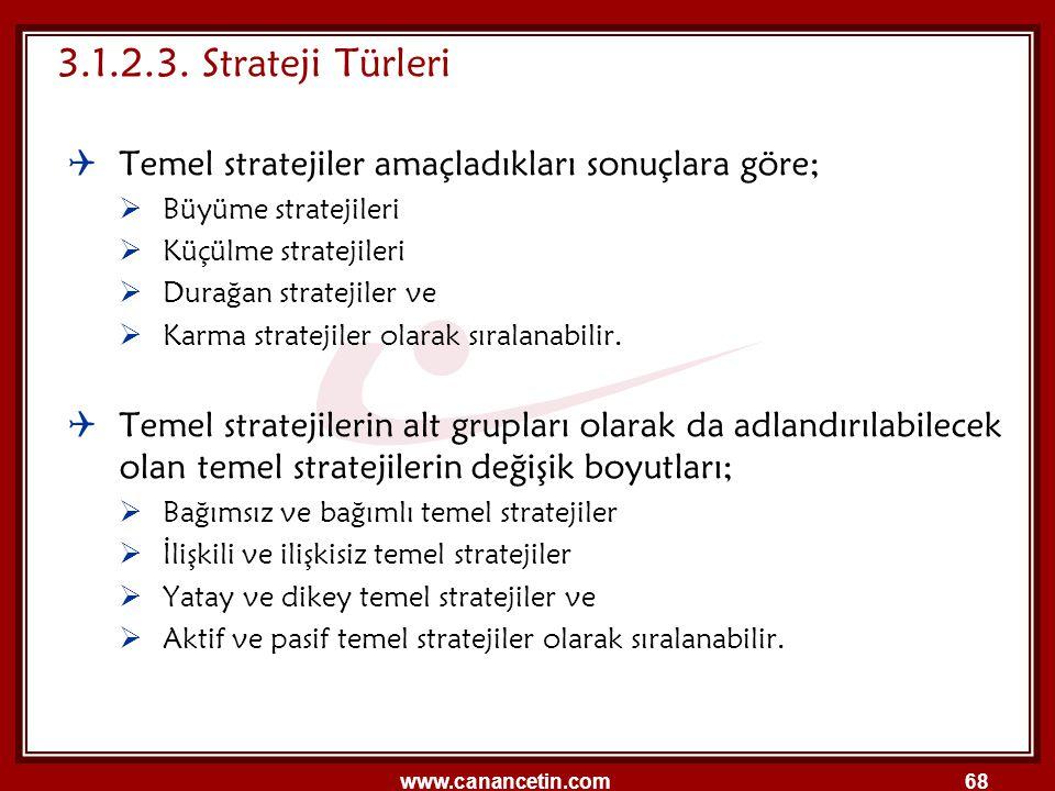 3.1.2.3. Strateji Türleri Temel stratejiler amaçladıkları sonuçlara göre; Büyüme stratejileri. Küçülme stratejileri.