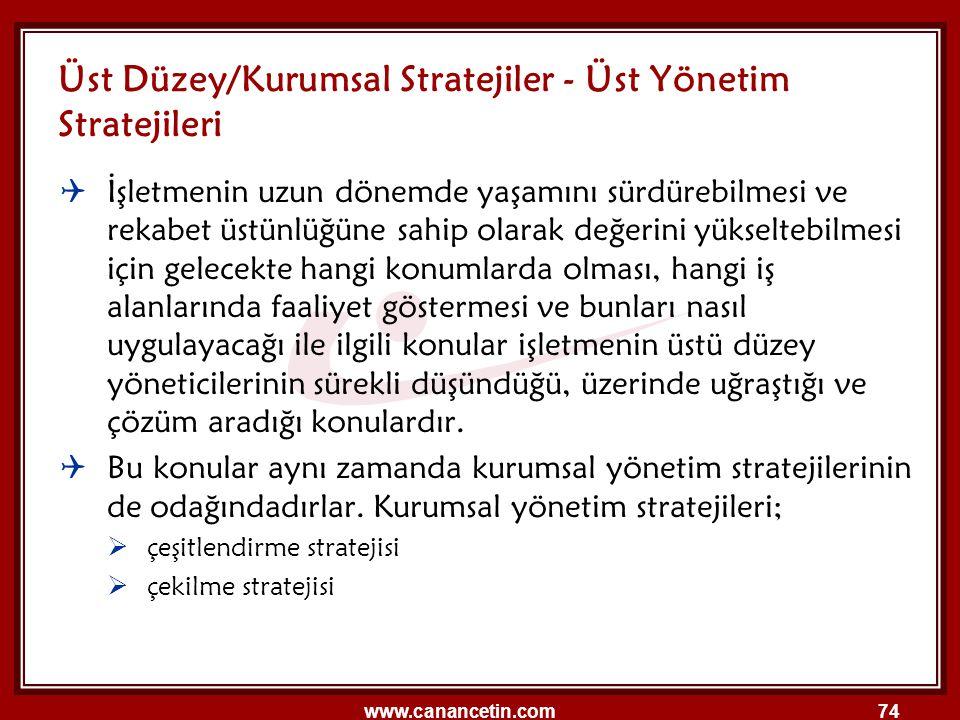Üst Düzey/Kurumsal Stratejiler - Üst Yönetim Stratejileri