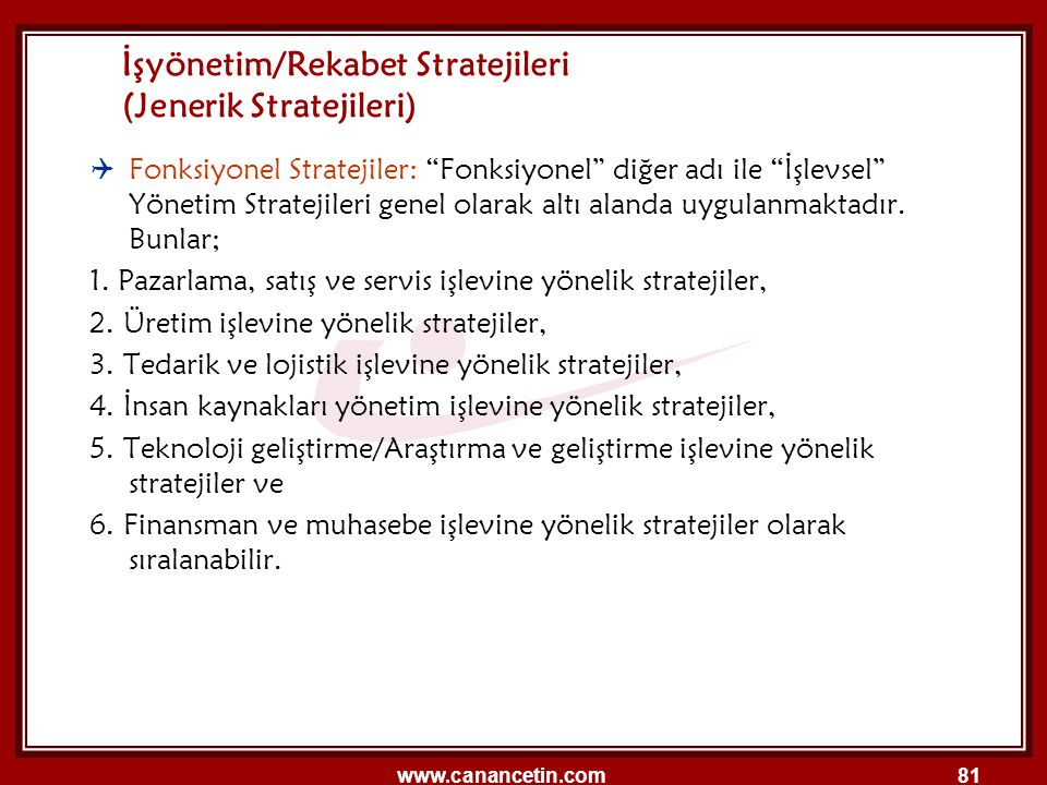 İşyönetim/Rekabet Stratejileri (Jenerik Stratejileri)