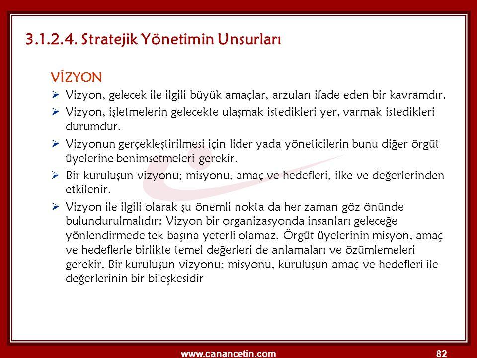 3.1.2.4. Stratejik Yönetimin Unsurları