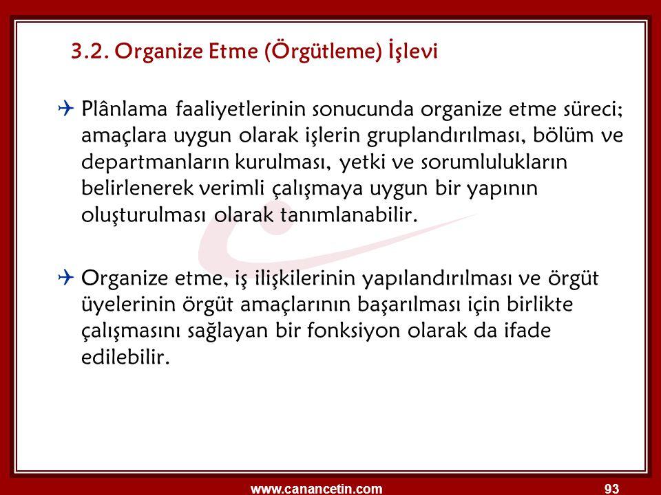 3.2. Organize Etme (Örgütleme) İşlevi