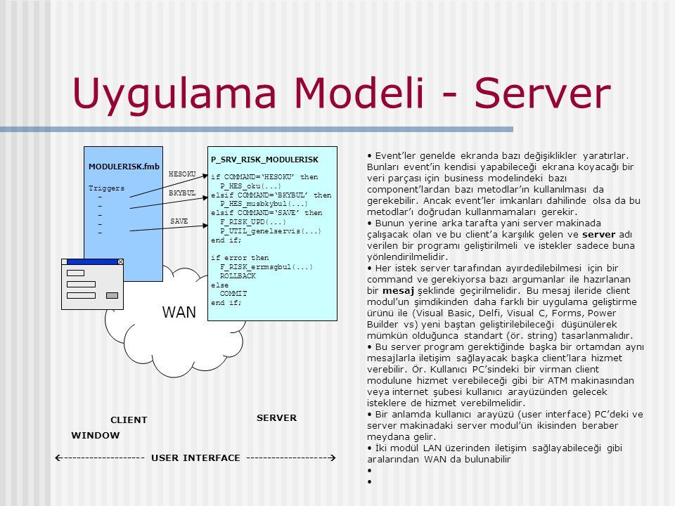 Uygulama Modeli - Server