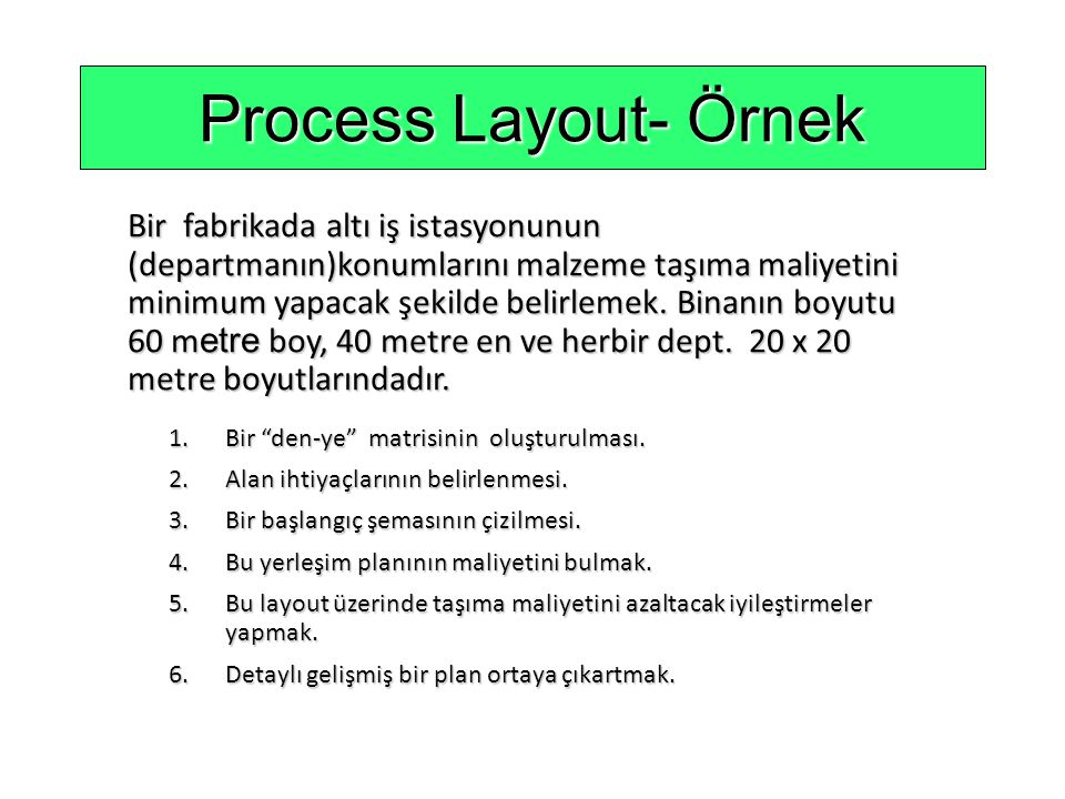 Process Layout- Örnek
