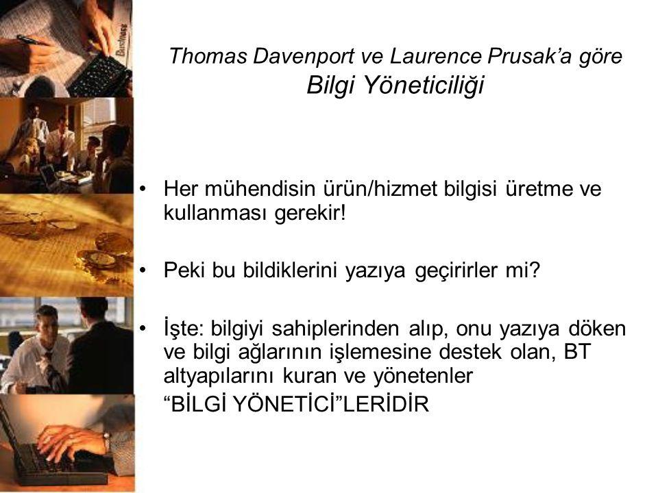 Thomas Davenport ve Laurence Prusak'a göre Bilgi Yöneticiliği