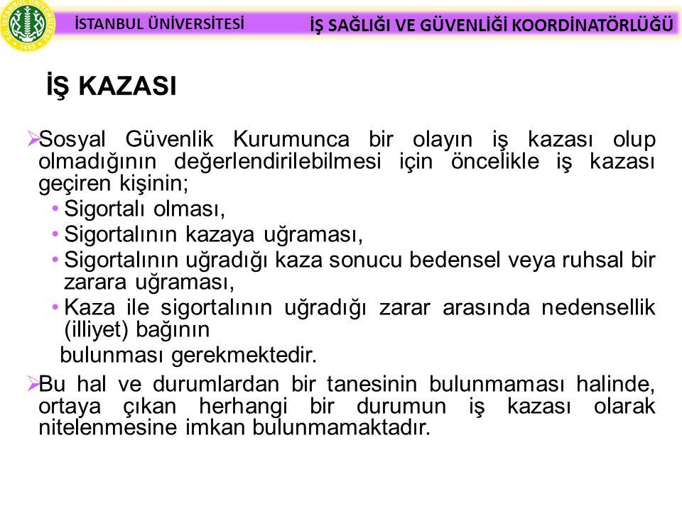 İŞ KAZASI Sosyal Güvenlik Kurumunca bir olayın iş kazası olup olmadığının değerlendirilebilmesi için öncelikle iş kazası geçiren kişinin;