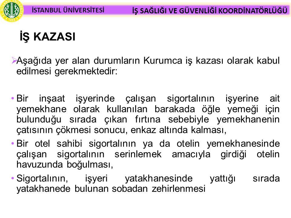İŞ KAZASI Aşağıda yer alan durumların Kurumca iş kazası olarak kabul edilmesi gerekmektedir: