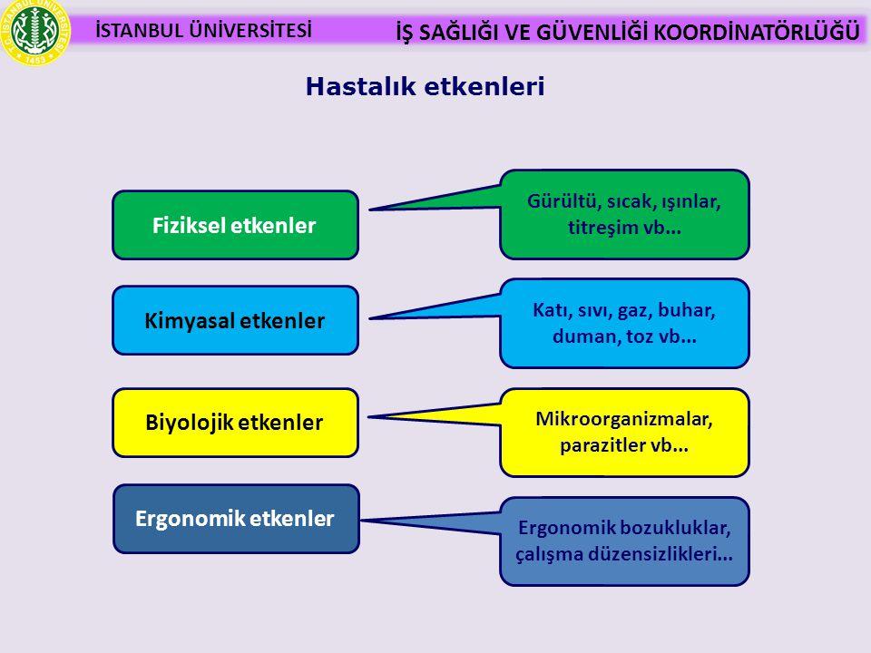 Hastalık etkenleri Fiziksel etkenler Kimyasal etkenler