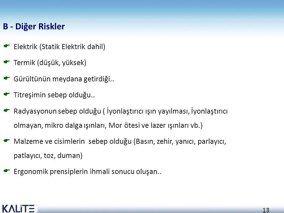 B - Diğer Riskler Elektrik (Statik Elektrik dahil)