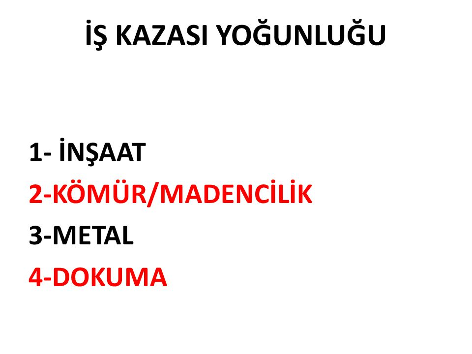 İŞ KAZASI YOĞUNLUĞU 1- İNŞAAT 2-KÖMÜR/MADENCİLİK 3-METAL 4-DOKUMA