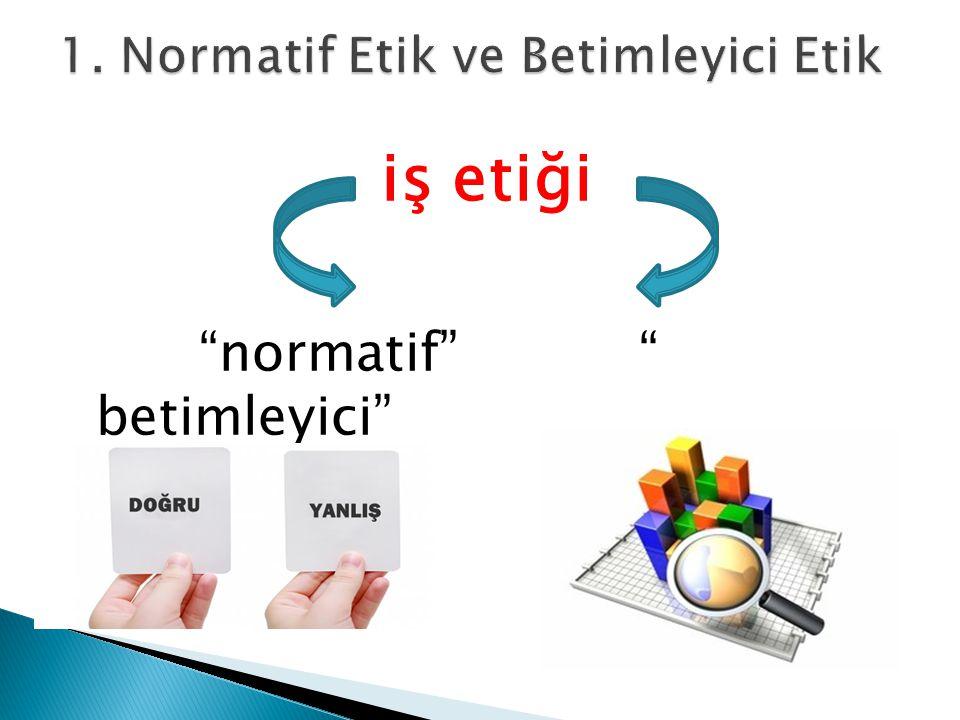 1. Normatif Etik ve Betimleyici Etik