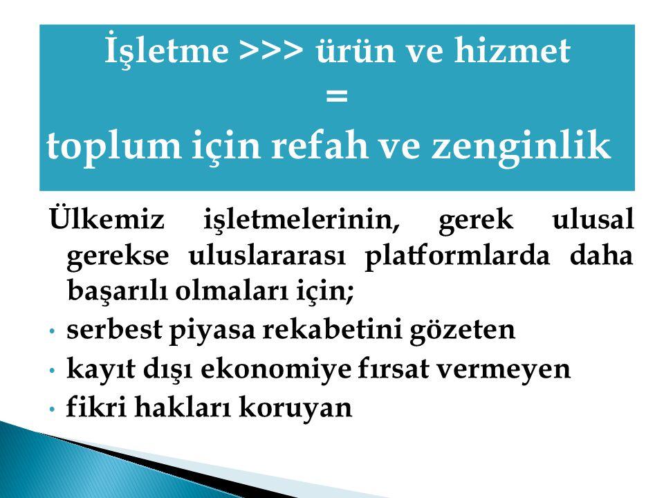 İşletme >>> ürün ve hizmet