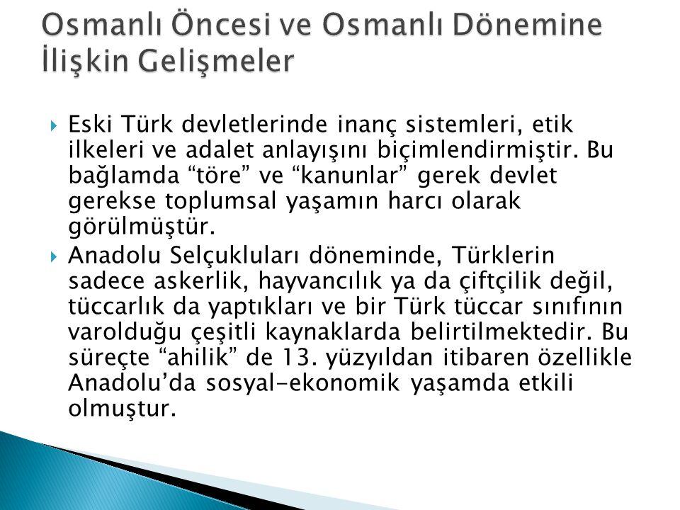 Osmanlı Öncesi ve Osmanlı Dönemine İlişkin Gelişmeler