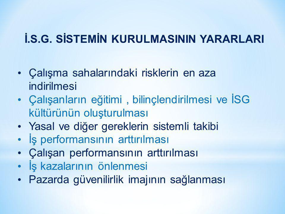 İ.S.G. SİSTEMİN KURULMASININ YARARLARI