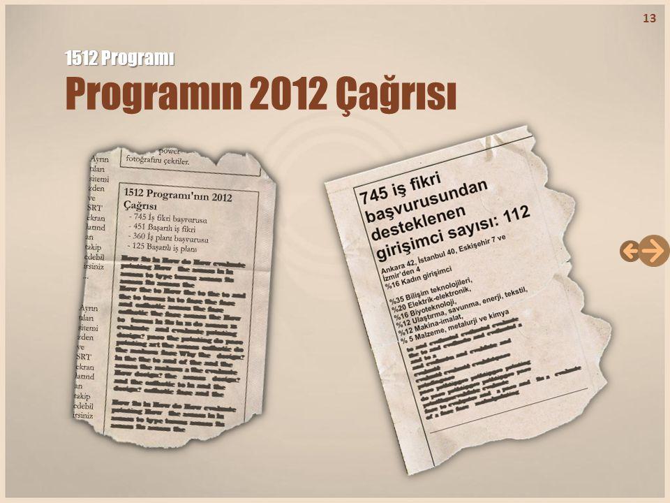 1512 Programı Programın 2012 Çağrısı