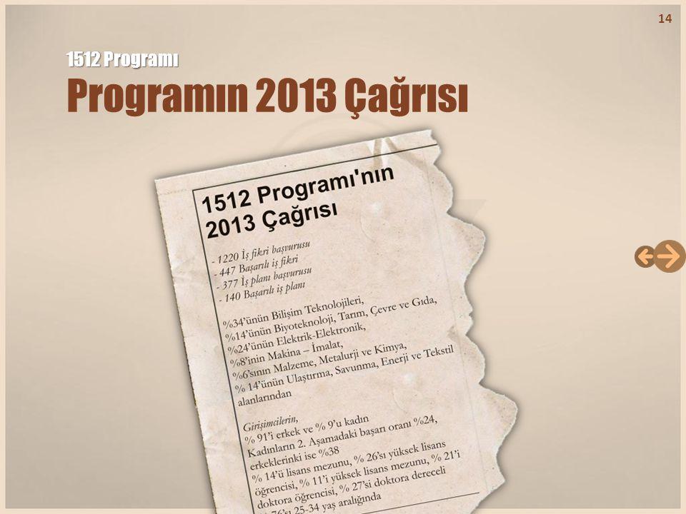 1512 Programı Programın 2013 Çağrısı