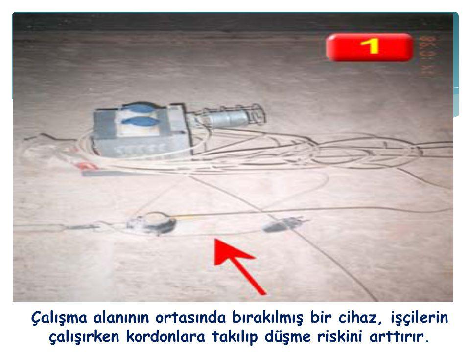 Çalışma alanının ortasında bırakılmış bir cihaz, işçilerin