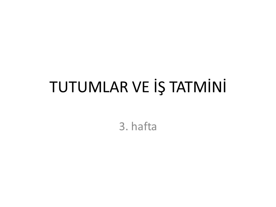 TUTUMLAR VE İŞ TATMİNİ 3. hafta