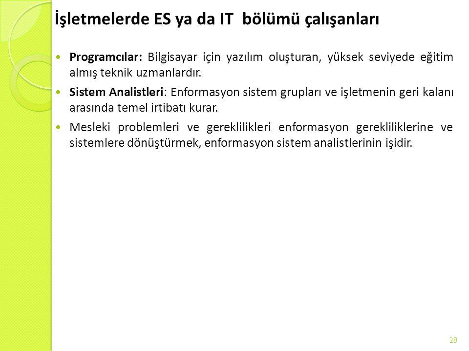 İşletmelerde ES ya da IT bölümü çalışanları