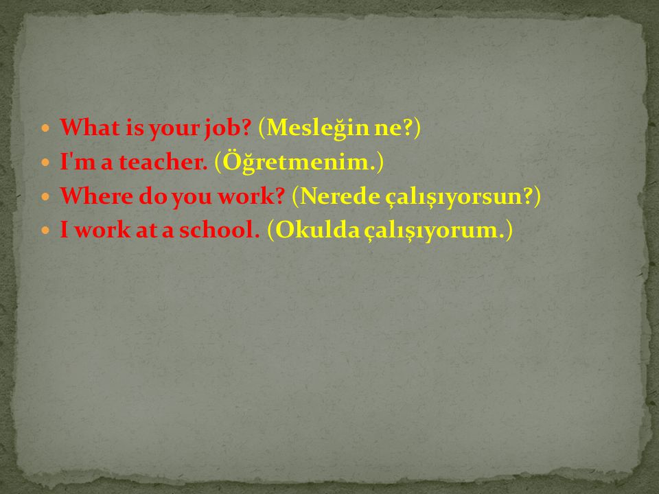 What is your job (Mesleğin ne )