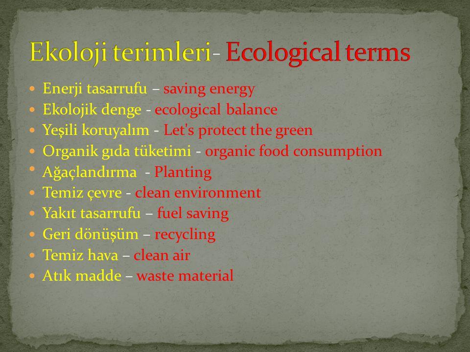 Ekoloji terimleri- Ecological terms
