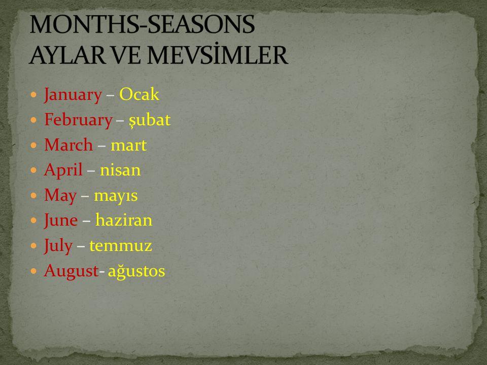 MONTHS-SEASONS AYLAR VE MEVSİMLER