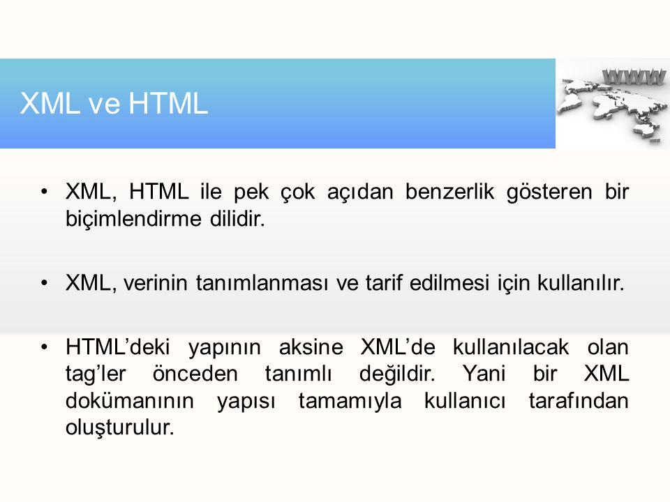 XML ve HTML XML, HTML ile pek çok açıdan benzerlik gösteren bir biçimlendirme dilidir. XML, verinin tanımlanması ve tarif edilmesi için kullanılır.