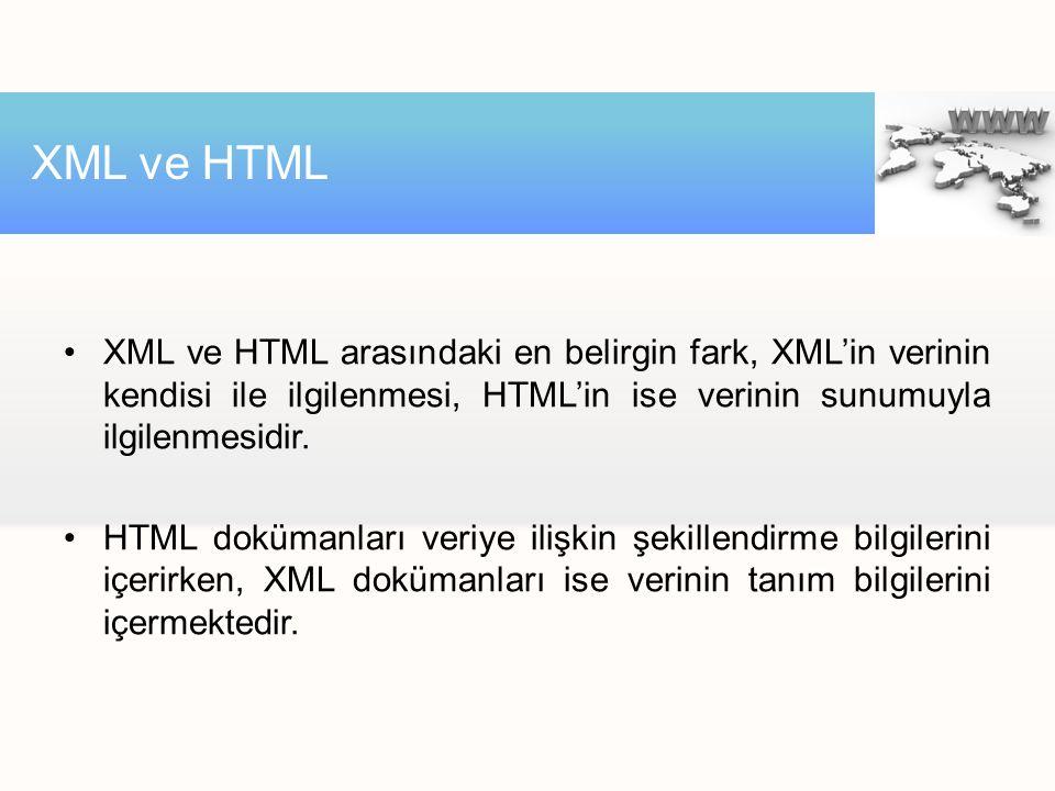 XML ve HTML XML ve HTML arasındaki en belirgin fark, XML'in verinin kendisi ile ilgilenmesi, HTML'in ise verinin sunumuyla ilgilenmesidir.