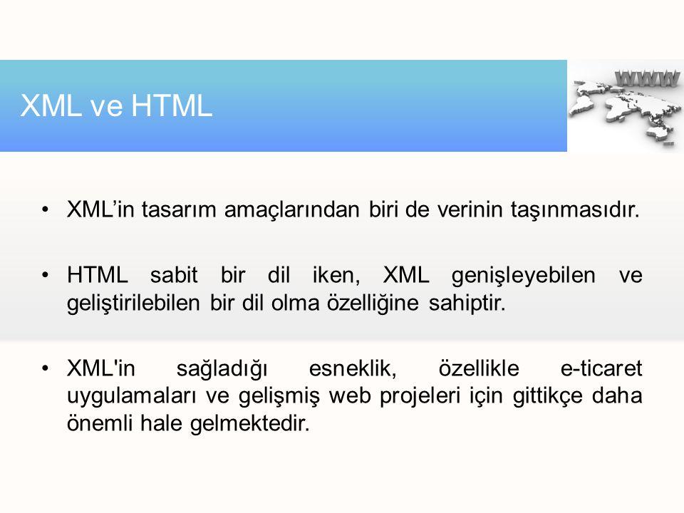 XML ve HTML XML'in tasarım amaçlarından biri de verinin taşınmasıdır.