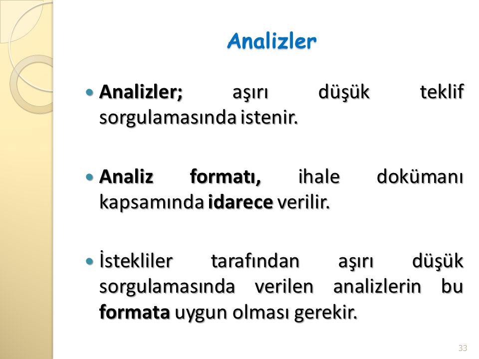 Analizler Analizler; aşırı düşük teklif sorgulamasında istenir. Analiz formatı, ihale dokümanı kapsamında idarece verilir.
