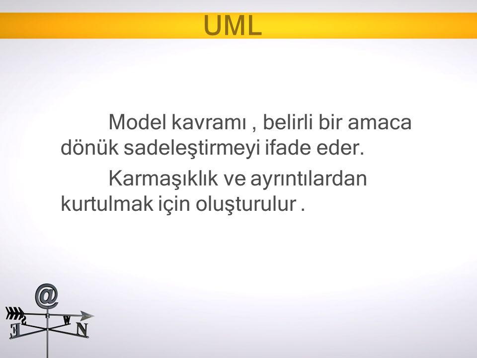 UML Model kavramı , belirli bir amaca dönük sadeleştirmeyi ifade eder.