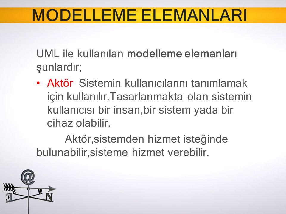 MODELLEME ELEMANLARI UML ile kullanılan modelleme elemanları şunlardır;