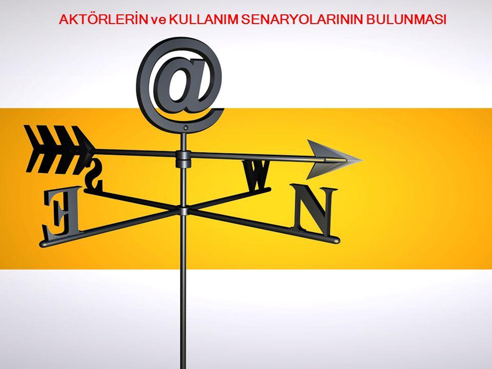 AKTÖRLERİN ve KULLANIM SENARYOLARININ BULUNMASI