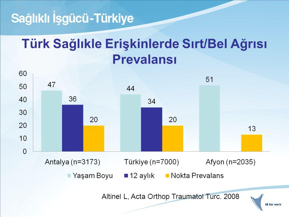 Türk Sağlıkle Erişkinlerde Sırt/Bel Ağrısı Prevalansı