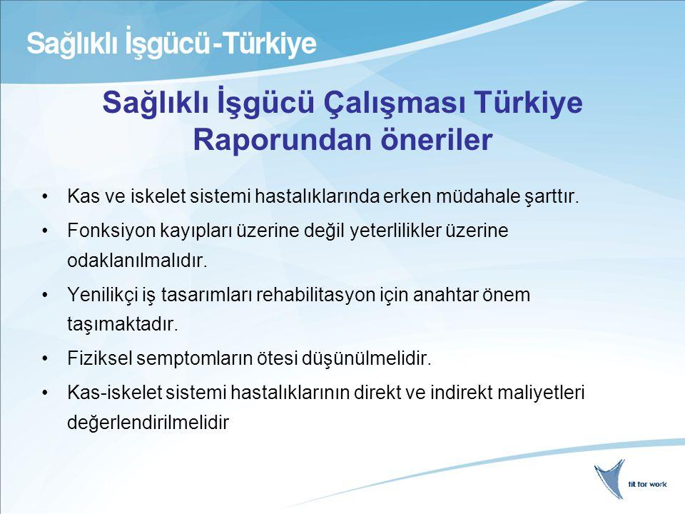 Sağlıklı İşgücü Çalışması Türkiye Raporundan öneriler