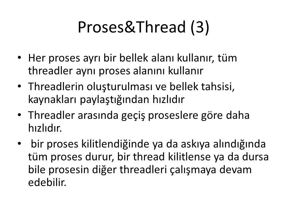 Proses&Thread (3) Her proses ayrı bir bellek alanı kullanır, tüm threadler aynı proses alanını kullanır.