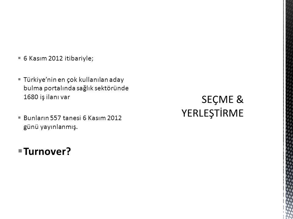 SEÇME & YERLEŞTİRME Turnover 6 Kasım 2012 itibariyle;