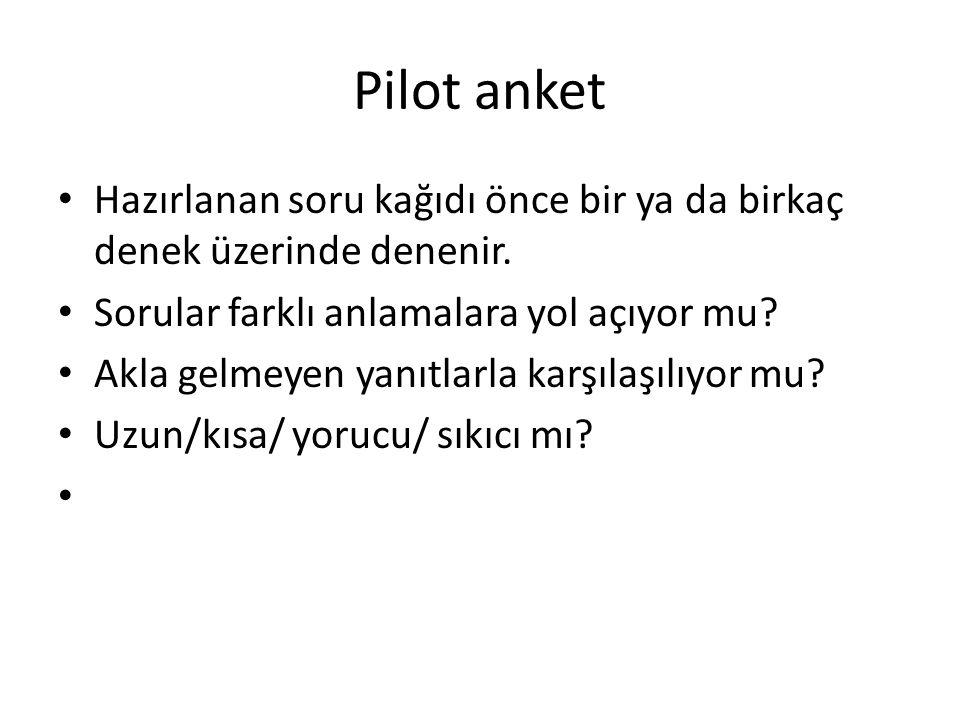 Pilot anket Hazırlanan soru kağıdı önce bir ya da birkaç denek üzerinde denenir. Sorular farklı anlamalara yol açıyor mu