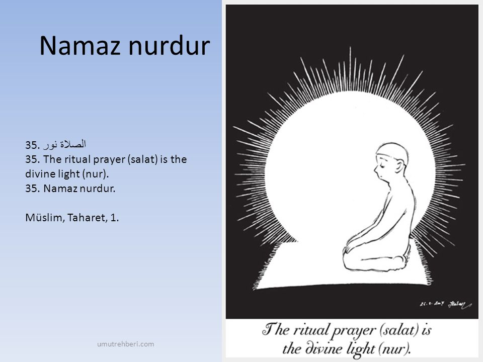 Namaz nurdur 35. الصلاة نور 35. The ritual prayer (salat) is the divine light (nur). 35. Namaz nurdur. Müslim, Taharet, 1.