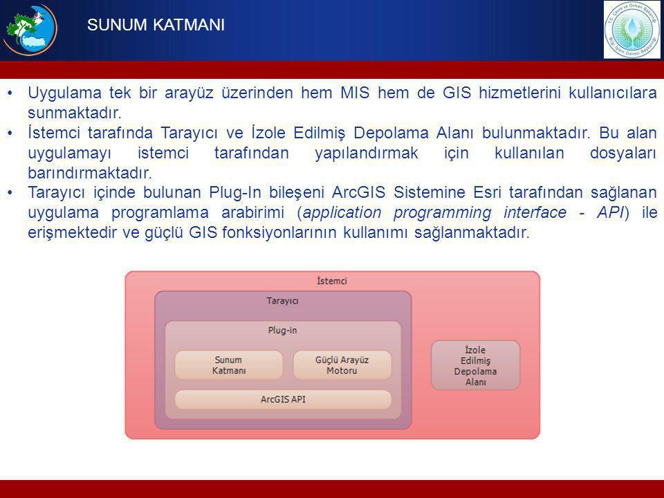 SUNUM KATMANI Uygulama tek bir arayüz üzerinden hem MIS hem de GIS hizmetlerini kullanıcılara sunmaktadır.