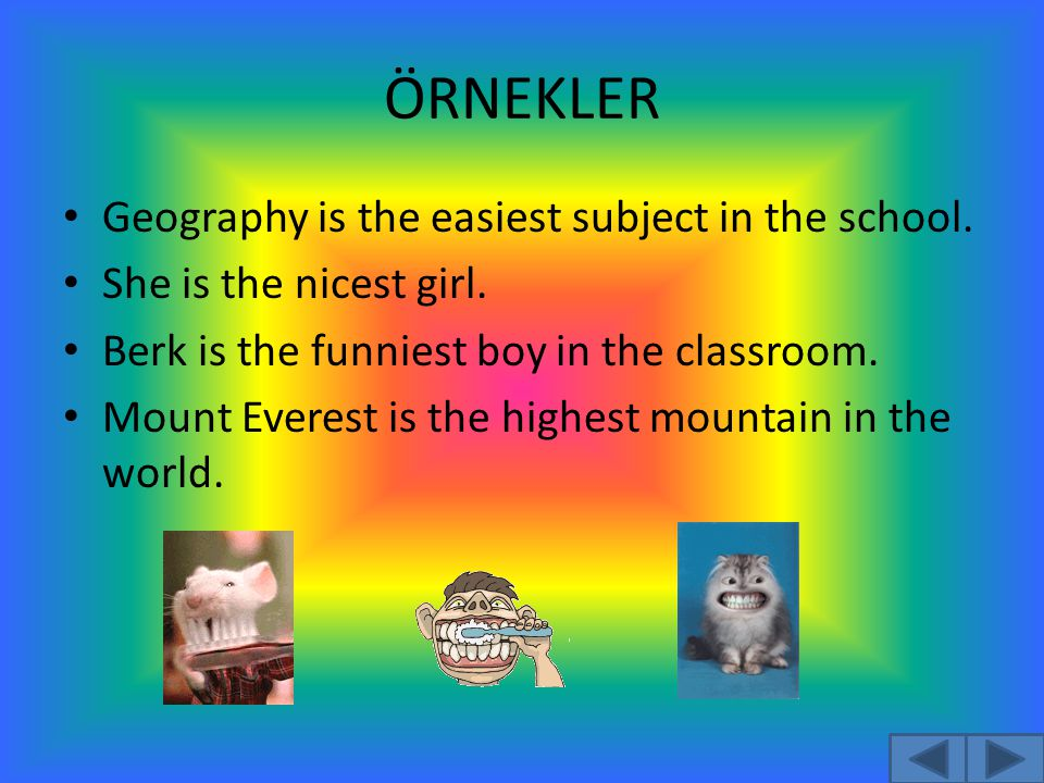 ÖRNEKLER Geography is the easiest subject in the school.