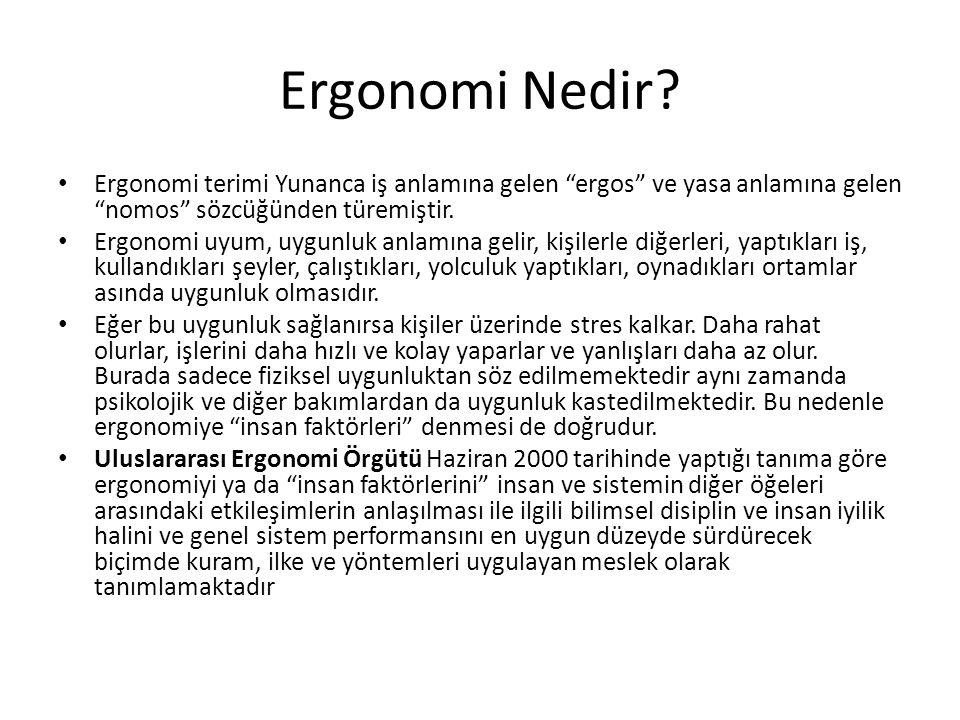 Ergonomi Nedir Ergonomi terimi Yunanca iş anlamına gelen ergos ve yasa anlamına gelen nomos sözcüğünden türemiştir.